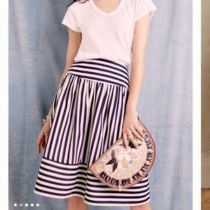 Maeve Anthropologie High Seas Striped Midi Skirt